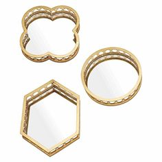 Embellish your décor with the art deco inspirations of the gold Monica Mirror/Tray (Set of 3) from Amalfi.