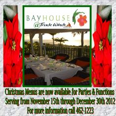 Create fabulous memories when you host your holiday party at Bayhouse Restaurant & Bar.     A great view with festive and delicious food.