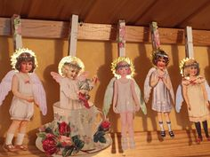 Wings of Whimsy: DIY Decopauge Clothespins Tutorial ~ To hang vintage Christmas paper doll angels and other items!