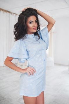Купить Платье-рубашка с объемными рукавами