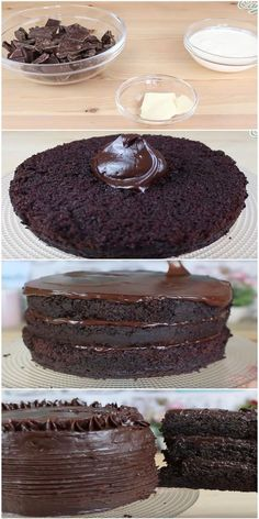 O Melhor Bolo de Chocolate do Mundo Bolo de Medaillons in Lauch-Rahm-Soße ist ein weiteres tolles G. Chocolate Chip Cookies, Flourless Chocolate Cakes, Best Chocolate Cake, Bolo Chocolate, Chocolate Ganache, Sweet Recipes, Cake Recipes, Dessert Recipes, Mini Cakes
