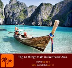 Top 10 things to do in Southeast Asia. Southeast Asia has become one of the must-see areas of the world for backpackers, globetrotters, package holiday destinations or independent holiday makers. It is an utterly entrancing and addictive region of mountains, beaches, rivers, rice paddies, ancient temples, world heritage sites, tiny ethnic villages and huge cosmopolitan cities