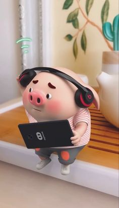 Happy Birthday Pig, Pig Wallpaper, Cute Pigs, Little Pigs, Cute Cartoon Wallpapers, Funny Animals, Hello Kitty, Iphone Wallpapers, Illustrations