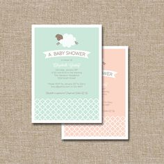 Baby Shower Invitation, Jumping Lamb. This Listing Is For The Digital File  Only.
