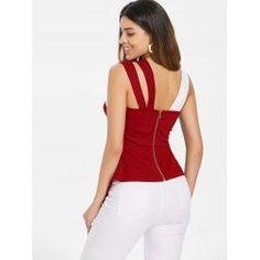 Back Zip Asymmetrical Tank Top Fall Fashion Skirts, Fashion Dresses, Kurta Designs, Blouse Designs, Stylish Blouse Design, Blouse And Skirt, Couture, Plus Size Tops, Corsage