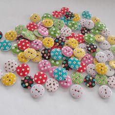100 boutons bois ronds 15mm mercerie couture 10 de chaque n°1