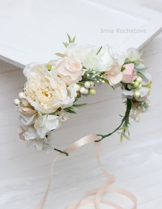 Ready to ship Ivory white flower crown Floral crown Flower halo  Wedding flower crown Flower crown Floral head wreath Bridal flower crown