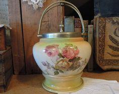 Victorian Biscuit Barrel / Vintage Biscuit Jar / Textured Porcelain Gilding / English Rose Pattern / Handle Lid Brass
