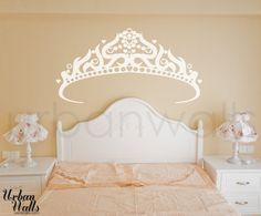 Crown Vinyl Wall 15 Enchanting Fairy Tale Crafts You Can Own Kids Room Wall Stickers, Vinyl Wall Stickers, Fairy Tale Crafts, Art Deco Home, Removable Wall Decals, Beige Walls, Headboards For Beds, Little Girl Rooms, Home Decor Items