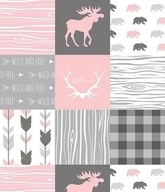 Baby Girl Quilt, Girl Crib Bedding, Patchwork Quilt, Baby Girl Blanket, Woodland Minky, Nursery Pink Gray Moose Bear Plaid Arrow Little One