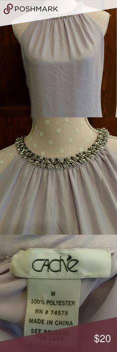 """Cache'  Beaded Neckline Top Shimmering and elegant!  Light lavender with a hint of  silver shimmer. Excellent condition. Length is 23"""" long and bust is 19"""" across. 100% polyester. Beading on collar intact. Cache Tops"""