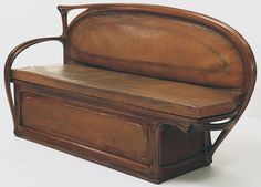 """Settee  1897. Carved mahogany and tooled leather, 36 1/2 x 67 1/2 x 21"""""""