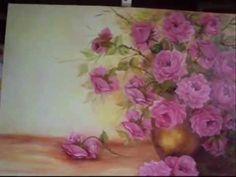 Pintando Rosas - PARTE 3 (final) - Óleo sobre tela, por Shirley Sbeghen