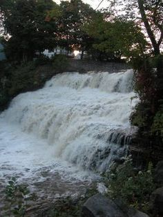 Glen Falls-- Glen Falls is located in Williamsville, Erie Co, New York. There is a small city park, appropriately named Glen Park, around the falls. The falls are actually visible from the road, but you might as well park to get a good look at the falls. The park also includes the old Williamsville Mill.--GLWB