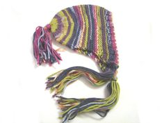 Soft striped bonnett with tassels children bonnet by TinyOrchids, $35.00