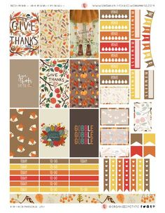 Free Printable Thanksgiving Planner Stickers from Organized Potato