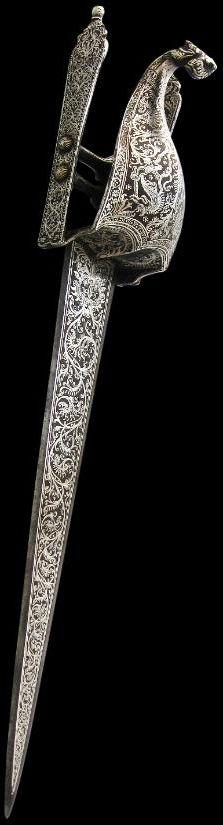 Silver-Inlaid Katar & Hilt Srirangam, Tanjore, India circa 1650