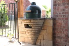 Outdoor kitchen with built in area for Green Egg.By Outdoor Signature in Argyle, TX
