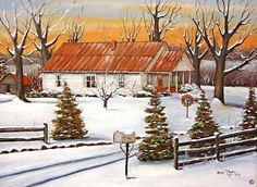 Folk Art Print of Minnie Reinhardt's Winter Snow Landscape Old Home Mom and Dad's Winter Snow Mail Box Landscape White Frame House Folk Art Print of Minnie Reinhardt's Old Home Arie Reinhardt Taylor by jagartist on Etsy Painting Snow, Winter Painting, Winter Art, Winter Snow, Ink Painting, Acrylic Paintings, Landscape Prints, Landscape Art, Landscape Paintings