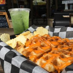 Grandpa's Grilled Cheese waffle? KIWI SPRITE? Grandpa' be proud. And full. Don't forget you can order online at downtownwaffles.com! #grandpa #grilledcheese #boomboom #online #thefuture #waffles #chips #kiwi #sprite #culturedcoffeeandwaffles #radcanton