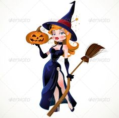 Buy Witch and Pumpkin by azuzl on GraphicRiver. beautiful witch and pumpkin Halloween Pin Up, Halloween Artwork, Halloween Clipart, Halloween Items, Halloween Pictures, Halloween Horror, Vintage Halloween, Naughty Disney Princesses, Witch Drawing