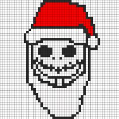 Jack Skellington As Sandy Claws Perler Bead Pattern | Bead Sprites | Holidays Fuse Bead Patterns