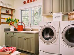 Lots of storage and space to work.  This would be a room to tackle all kinds of projects in, not just laundry.