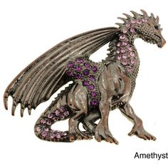 Plated Purple or Blue Crystal Flying Dragon Brooch ($16) ❤ liked on Polyvore featuring jewelry, brooches, amethyst, crystal jewellery, purple crystal jewelry, blue jewellery, pin brooch and crystal brooch