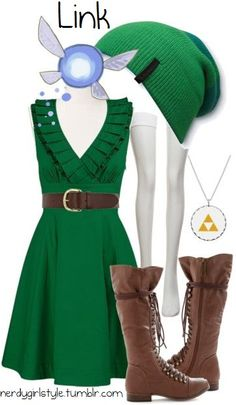Link casual outfit by Nerdy Girl Style. Maybe with an undershirt? Casual Cosplay, Cosplay Outfits, Anime Outfits, Nerd Fashion, Fandom Fashion, Fashion Mode, Fashion Outfits, Disney Fashion, Lady Like