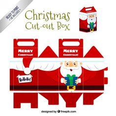 O Natal Papai Noel cortar caixa Vetor grátis