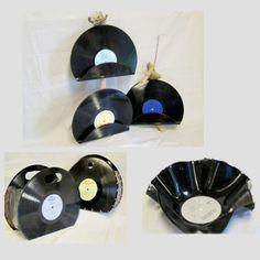 Witzige Handtasche und Schale aus Vinyl. Hergestellt im Kreativatelier Herisau für Menschen mit psychischen Beeinträchtigungen. Vinyl Crafts, Home Workshop, People, Upcycled Crafts, Creative, Vinyl Record Crafts