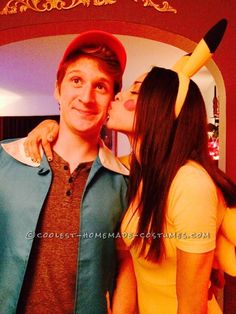 Cute Pikachu and Ash Couple Costume... Coolest Halloween Costume Contest
