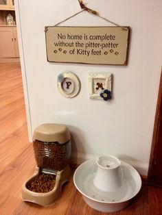 My personalized feeding area for my cats, Fanny and Mimi.