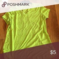 Yellow/green v neck Yellow- green v neck t shirt. NEVER WORN. Shirts & Tops Tees - Short Sleeve