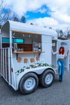 Horse Trailer Mobile Bar Vintage | Etsy Coffee Carts, Coffee Truck, Mobile Bar, Mobile Shop, Mobile Coffee Shop, Mobile Coffee Cart, Coffee Trailer, Fifth Wheel Trailers, Food Truck Design