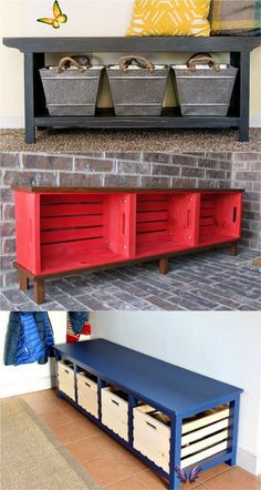 21 beautiful DIY benches for every room. Great tutorials on how to build benches easily out of 2x4s, concrete blocks, or even old headboards and dressers. - A Piece of Rainbow #entryway  entryway ideas #entrywaydecorideas #entry #beforeandafter #remodel #remodelingideas #benchseat #benchideas #bench #organizing #organization  #organize #declutter  declutter my house  #diy #furniture #farmhouse  farmhouse decor #diyhomedecor 21 beautiful DIY benches for every room. Great tutorials on how to… Diy Wood Bench, Crate Bench, Wood Benches, Wood Table, Entry Bench Diy, Wood Bench With Back, Diy Bench Seat, Diy Pallet Couch, 2x4 Wood