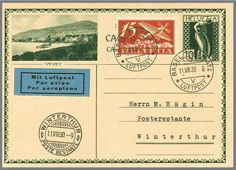 Switzerland Basle Winterthur from 11. 8. 1930, very nice and clean card. LH = 1800.- Katalog-no. SF 30. 2 appraisal 200.- till 250.-  Lot condition   Dealer Rapp Auctions  Auction Starting Price: 200.00 SFr