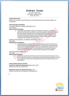 physical therapist resume pdf