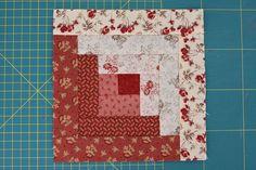 Easy Log Cabin tutorial by http://www.quiltingstories.blogspot.com/2014/08/easy-log-cabin-tutorial-block-red-pink-beige.html