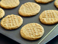 GF peanut butter cookies:  1c peanut butter,  1c sugar,  1 egg, 1 tsp vanilla.  Bake at  325 for 12 min.
