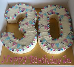Hand piped sparkly number 30 Birthday Cake Designed by Cake Quarter