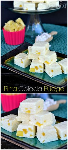 Pina Colada Fudge: So easy to make! One bite will take you to Pina Colada heaven! Fudge Recipes, Candy Recipes, Sweet Recipes, Dessert Recipes, Shake Recipes, Toffee, Just Desserts, Delicious Desserts, Yummy Treats