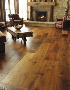 Lovely Wood Flooring Ideas Wide Plank Family Rooms Love these wood floors I only wish the actual fireplace was Types Of Wood Flooring, Wide Plank Flooring, Wooden Flooring, Flooring Ideas, Wood Planks, Rustic Floors, Laminate Flooring, Rustic Wood, Plywood Floors