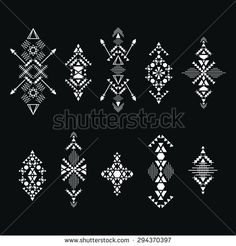 Collection of abstract geometric elements for tribal ornament. Vector.
