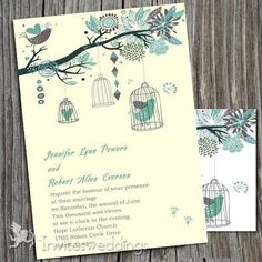 Wedding Invitations Online Fascinating Bird And Tree Wedding Invitations - Cute Wedding Dress, Fall Wedding Dresses, Perfect Wedding, Dream Wedding, Wedding Day, Wedding Things, Wedding Stuff, Spring Wedding Invitations, Beautiful Wedding Invitations