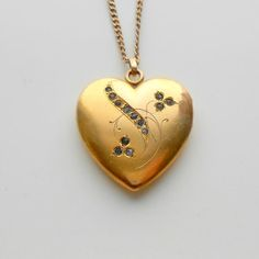 Antique Heart Locket with Brilliants 1907 Photographs by pinguim, $140.00
