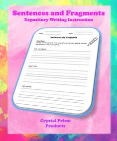 Sentences and Fragments (Hochman Method Aligned Resource f Simple Subject And Predicate, Expository Writing, Teaching Resources, Sentences, Worksheets, Revolution, Education, Frases