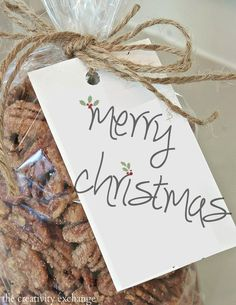 Free printable Merry Christmas Gift tag for sugared pecans or any gift.  Sugared pecan recipe.  The Creativity Exchange