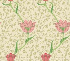 Garden Tulip (WM8552/2) - Morris Wallpapers - A flat wallpaper that is suitable for use in most rooms. It is not however recommended for use in kitchens or bathrooms.