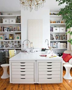 fantastic studio / workspace / home office with ikea alex drawers incorporated into a built-in desk